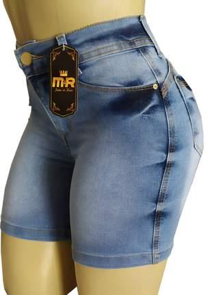 Bermudas meia coxa cintura alta jeans feminina com lycra