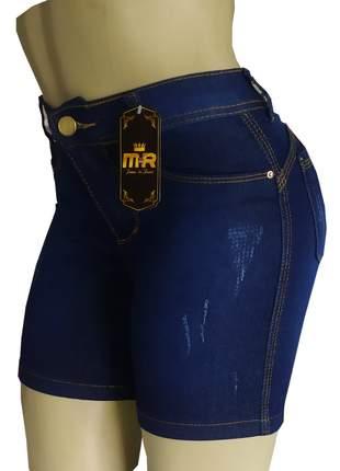 Bermudas meia coxa cintura alta feminina jeans lycra