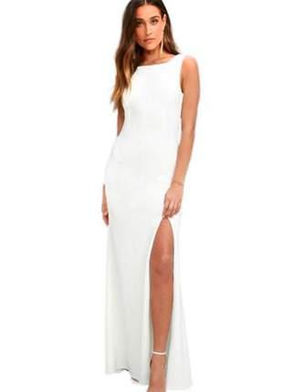 Vestido longo feminino com fenda costa nua regata