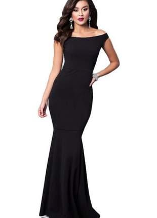 Vestido longo feminino ombro a ombro saia rabo de sereia