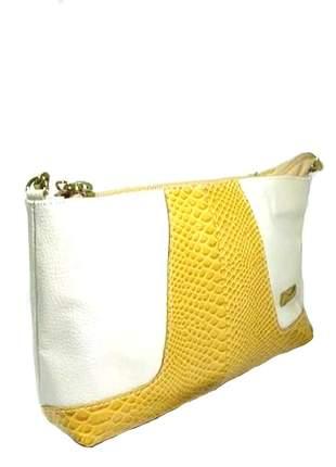 Mini bag transversal em couro legítimo divino - ref 18001 branco + mostarda