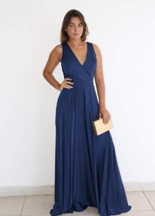 Vestido azul marinho longo de festa casamento madrinha 38/40 luxo