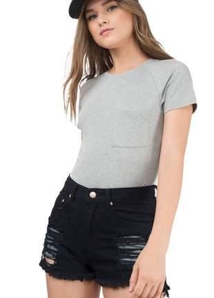 Body feminino liso manga curta com bolso