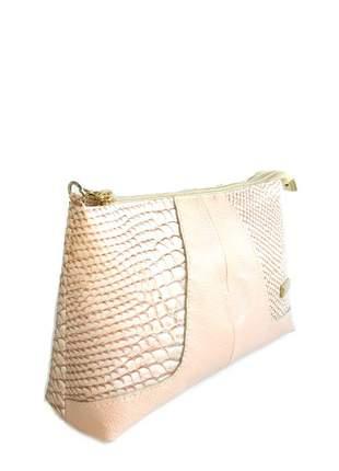 Mini bag transversal em couro legítimo divino - ref 18001 nude