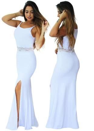 Vestido feminino longo alcinha e renda na cintura