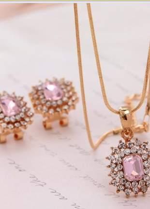Conjunto feminino colar e brinco banhado pedra rosê e detalhes