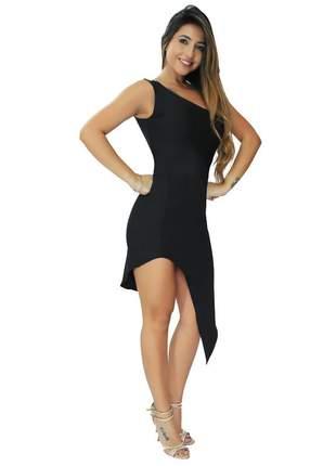Vestido feminino curto com fenda midi