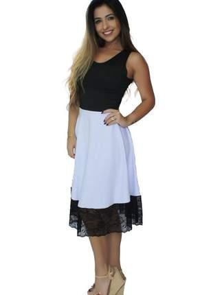 Vestido feminino midi godê duas cores com barra em renda