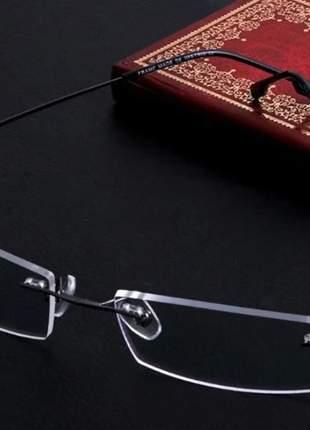 Armação oculos grau titanium cinza preto sem aro