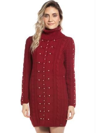 Vestido ralm com tranças e pérolas - vermelho