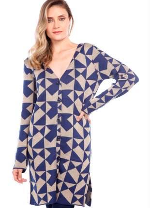 Casaco ralm tricot geométrico - azul