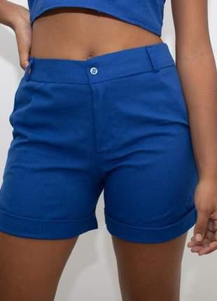 Short linho azul bic