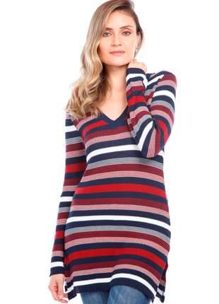 Blusa ralm com shape alongado listrada - vermelho