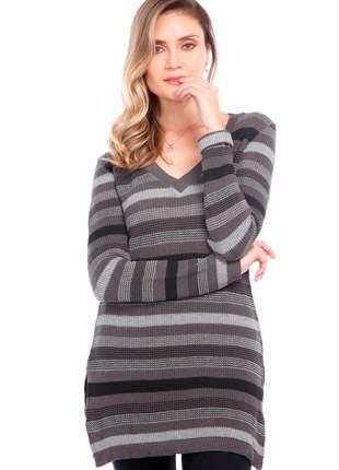Blusa ralm com shape alongado listrada - cinza