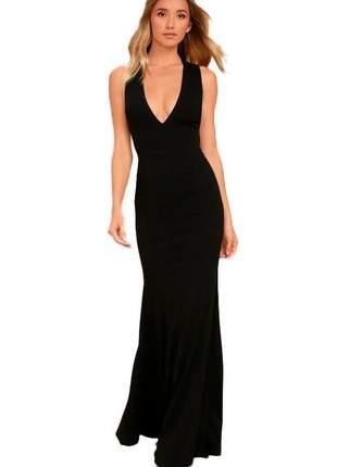 Vestido longo feminino com detalhe cruzado decote costa nua