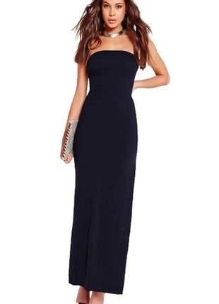 Vestido longo feminino tomara que caia com fenda
