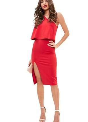 Vestido feminino curto com fenda um ombro só babado