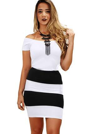 Vestido feminino coladinho preto e branco