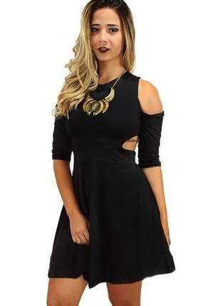 Vestido feminino curto godê recortes ombro e lateral