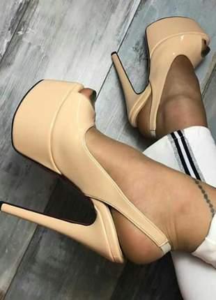 Sapatos femininos peep toe plataforma vinil