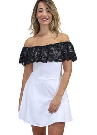 Vestido feminino renda ombro a ombro