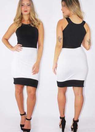 Vestido feminino social preto e branco
