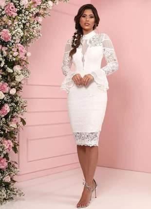 Vestido midi branco manga comprida noivinha doce maria • destaque