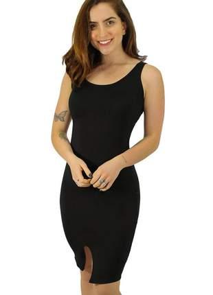 Vestido feminino midi com fendinha