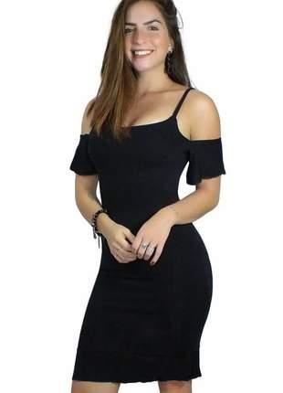 Vestido feminino manguinha ombro nu
