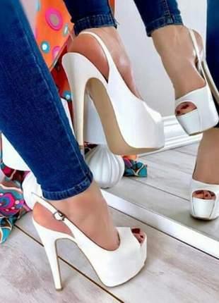 Sapatos femininos peep toe plataforma solado vermelho