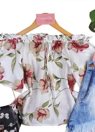 Blusa feminina ciganinha floral com recorte na manga bs136