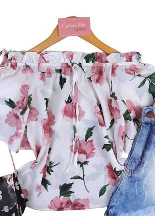 Blusa feminina ciganinha floral com recorte na manga bs138