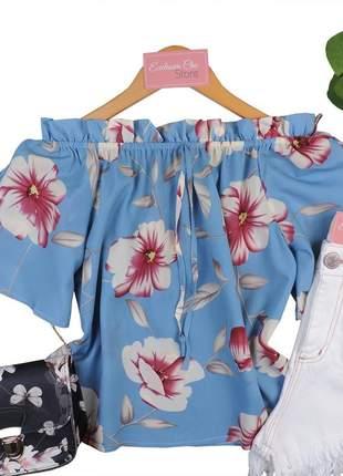 Blusa feminina ciganinha floral com recorte na manga bs198