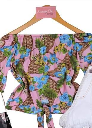 Blusa feminina ciganinha cropped com amarração rosa bs457