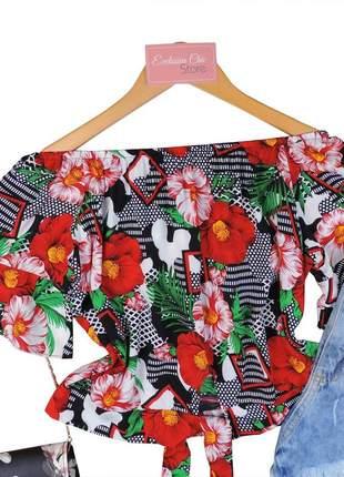 Blusa feminina ciganinha cropped com amarração floral bs460