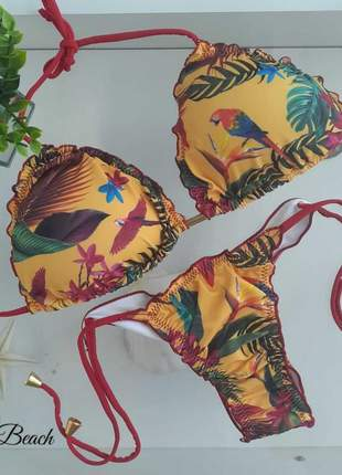 Biquíni ripple lacinho - floral amarelo - soulbeach