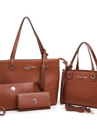 Kit 4 bolsas feminina com alça removivel carteira willibags promoção