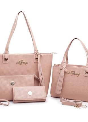 Kit 4 bolsas feminina grande tipo sacola com carteira willibags promoção