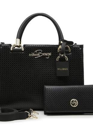Kit bolsa feminina estruturada grande + carteira  luxo barato