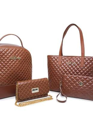 Kit mochila escolar social + bolsa grande feminina + pequena luxo willibags