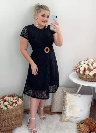 Vestido midi renda moda cristã evangelica social com cinto elegante