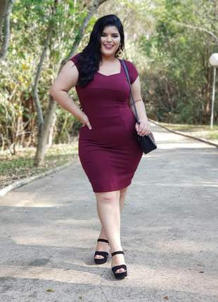 Vestido midi tubinho feminino vinho moda cristã evangélica social fashion