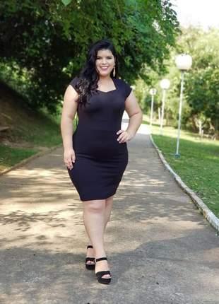 Vestido midi cristã evangélico tubinho comportado social preto elegante
