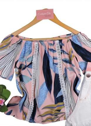Blusa feminina ciganinha renda rosa claro bs489