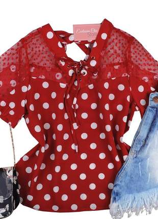 Blusa social feminina poá detalhe tule vermelha bs492