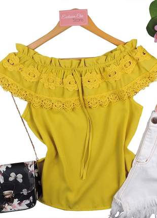 Blusa feminina social ciganinha renda bs509