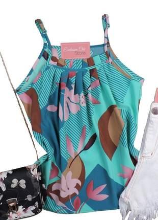 Blusa feminina regata babado estampa floral bs513