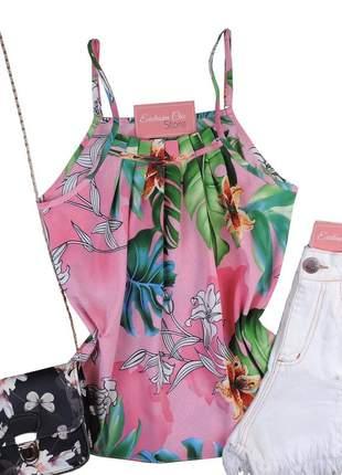 Blusa feminina regata babado estampa floral rosa bs544