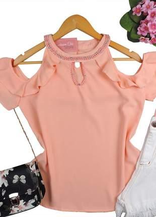 Blusa feminina social ombro a ombro pedraria rosa bs547