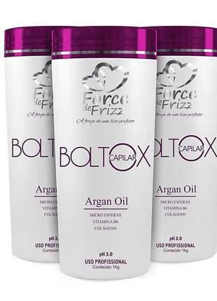 Combo botox capilar argan oil boltox force de frizz 1kg (3un)